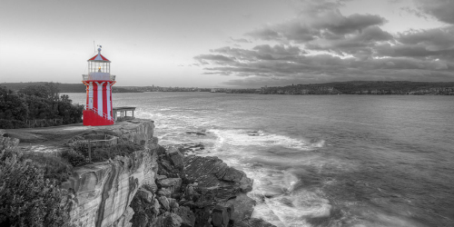 The coast line of Sydney is set to Black and white, Whilst the candy stripped Hornby Lighthouse is in all its Red and white glory.