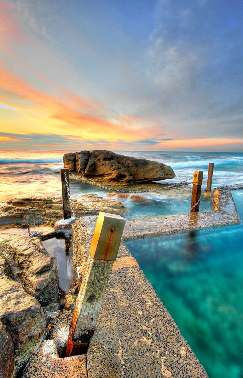 Sunrise over Mahon pool, Maroubra, NSW, Australia