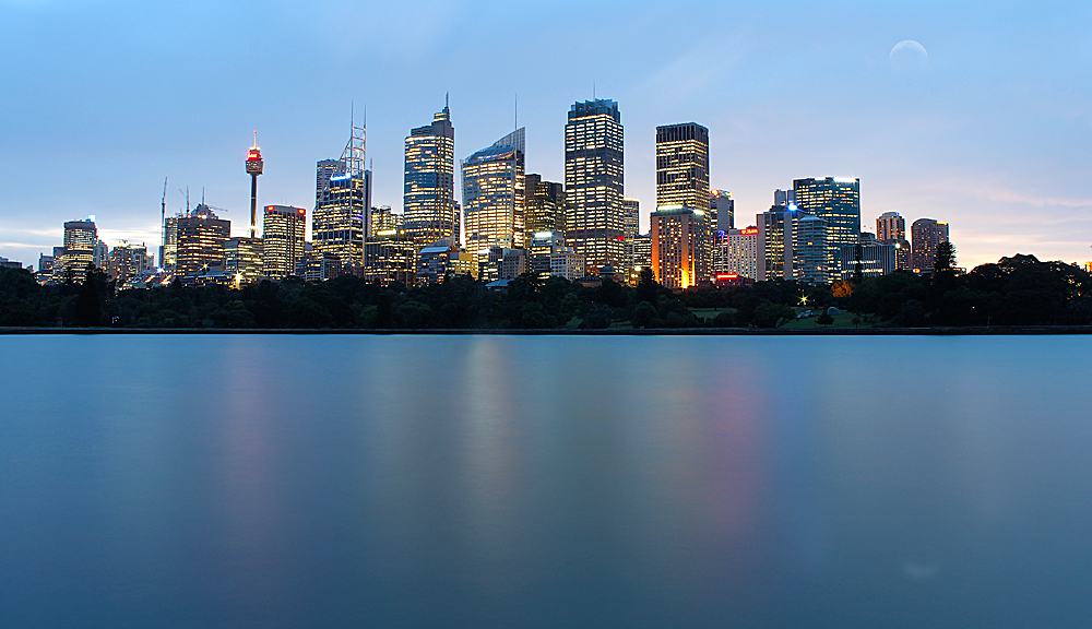 Sydney Harbour at dusk, NSW, Australia